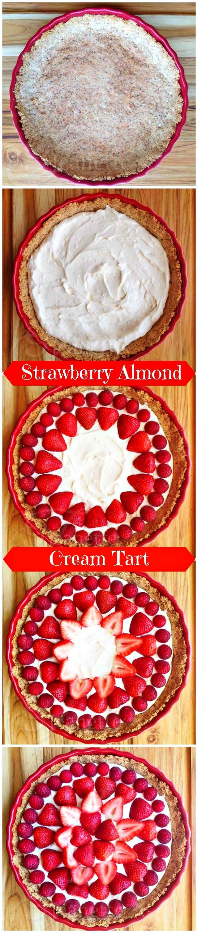How To Make Strawberry Almond Cream Tart © Jeanette's Healthy Living #glutenfree #dessert #strawberry