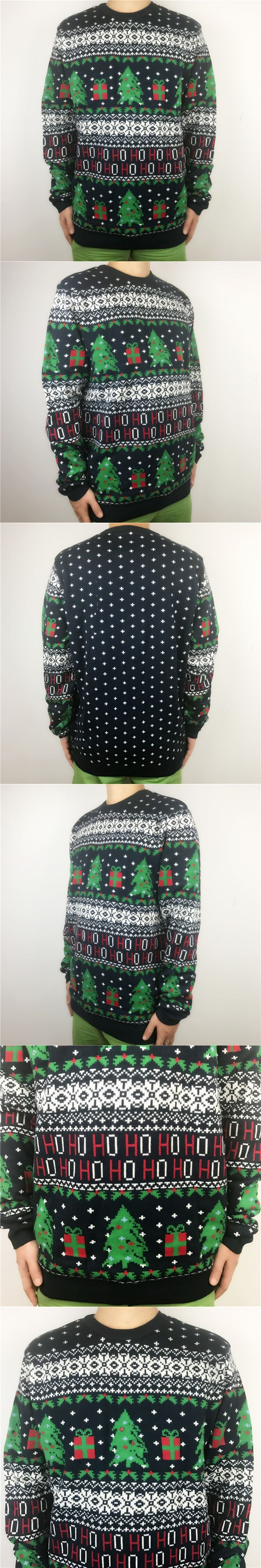 Funny Light Up Knitted Ugly Christmas Sweaters for Men Oversized Xmas Pullover Jumpers Deep Blue
