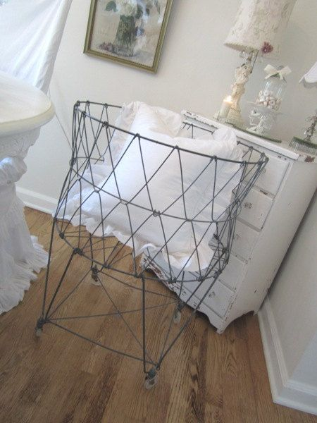 Contemporary laundry cart passed as vintage on Etsy.  Buy it new here, and save: http://www.homealamode.com/collapsiblelaundrybasket.aspx