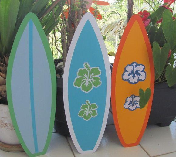 KIT COM 3 PRANCHAS DE SURF PARA DECORAÇÃO, CONFECCIONADAS COM 2 CAMADAS DE PAPEL…