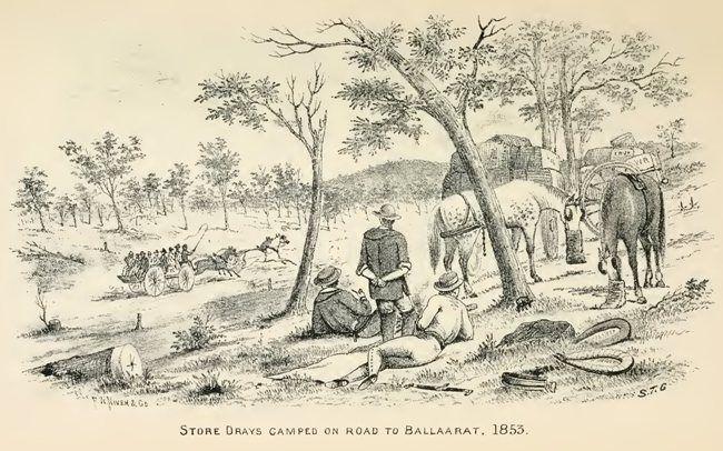 Store draws camped on road to Ballarat 1853