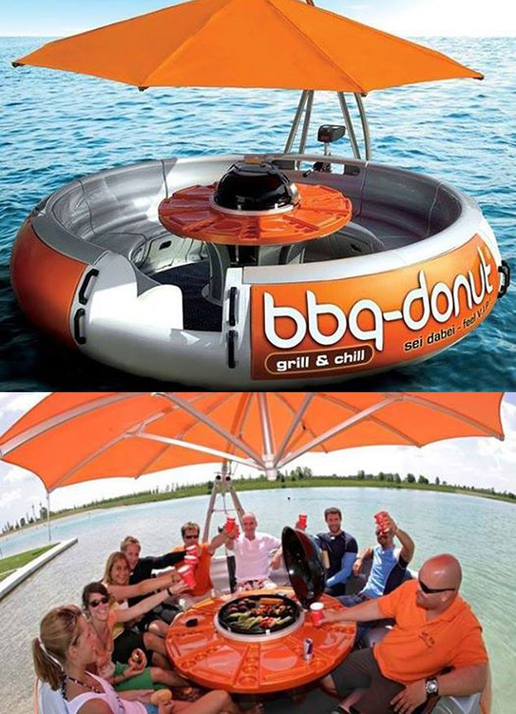 One of the coolest things I've ever seen. Donut pontoon boat you can rent with either a grill or a cooler in the middle and a picnic table. Umbrella has lights underneath for night time rides. Seats up to eight and has an outboard motor. Found at: http://www.bbq-donut-boat.com/index.html