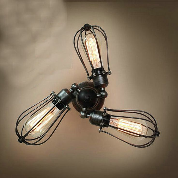 Vintage Industrial Wall Light with 3 Adjustable Iron Lamp Stand and Shades