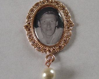 Rose Gold Tone Photo Frame Memorial Bouquet Charm/Button Hole Fastening -   £7.50 plus shipping