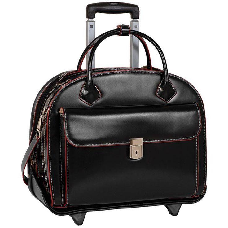 McKlein USA Glen Ellyn 2-in-1 Removable-Wheeled Briefcase Black - 94365