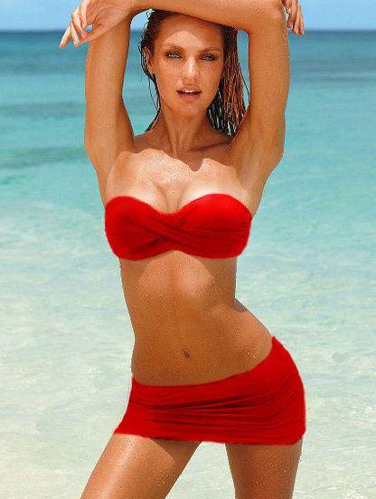 Элегантный красный купальник-бандо с трусиками-юбочкой, фото 1
