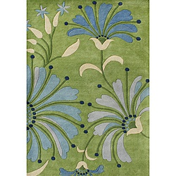 @Overstock - Enhance any space with this beautiful, handmade, New Zealand wool blend area rug. This floor accent features transitional colors such as light green, blues, and beige and was hand-washed with utmost care.http://www.overstock.com/Home-Garden/Handmade-New-Zealand-Wool-Blend-Light-Green-Floral-Area-Rug-8-x-10/6509712/product.html?CID=214117 $313.64