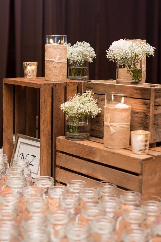 Rustic wooden crated wedding decor / http://www.deerpearlflowers.com/country-wooden-crates-wedding-ideas/2/