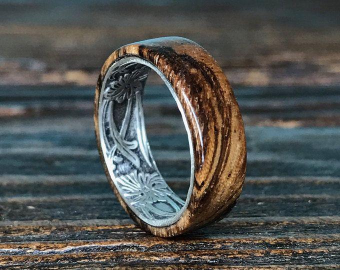 Grey Maple Wood Ring With Jade Inlays Mens Wedding Ring