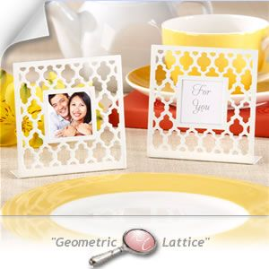 """Geometric Lattice"" White Photo Frame Favors Gifts - 79% OFF - Cheap Wedding Favors - Cheap Bridal Shower Favors - Cheap Party Favors - 14080NA - http://www.warmimpressions.com/WEDDING_FAVORS/Geometric-Lattice-White-Photo-Frame-Favors-kate-aspen-14080NA.html  medium"