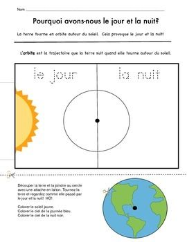 Here is a page to help you teach your students about day and night...in French!Graphics are thanks to My Cute Graphics!Merci Beaucoup!