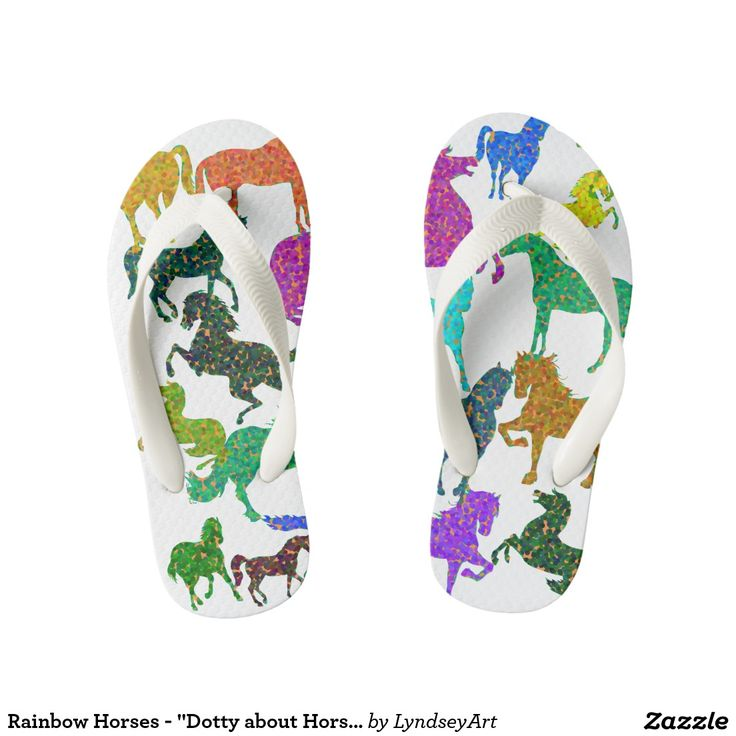 """Rainbow Horses - """"Dotty about Horses!""""  Gorgeous multicolored horses, in the wonderfully """"dotty"""" color bouncing pointallist style. For all of you out there that just adore these magnificent animals. LyndseyART  #horses #thongs #cute #flipflops #shoes #rainbow #kids #lyndseyart"""