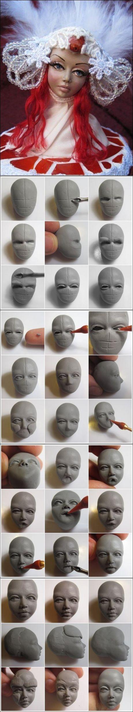Лицо куклы из полимерной глины: сложно, но красиво!