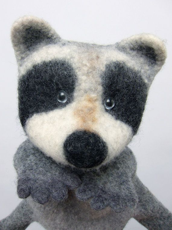 the raccoon wet felted hand puppet by bibabo on Etsy