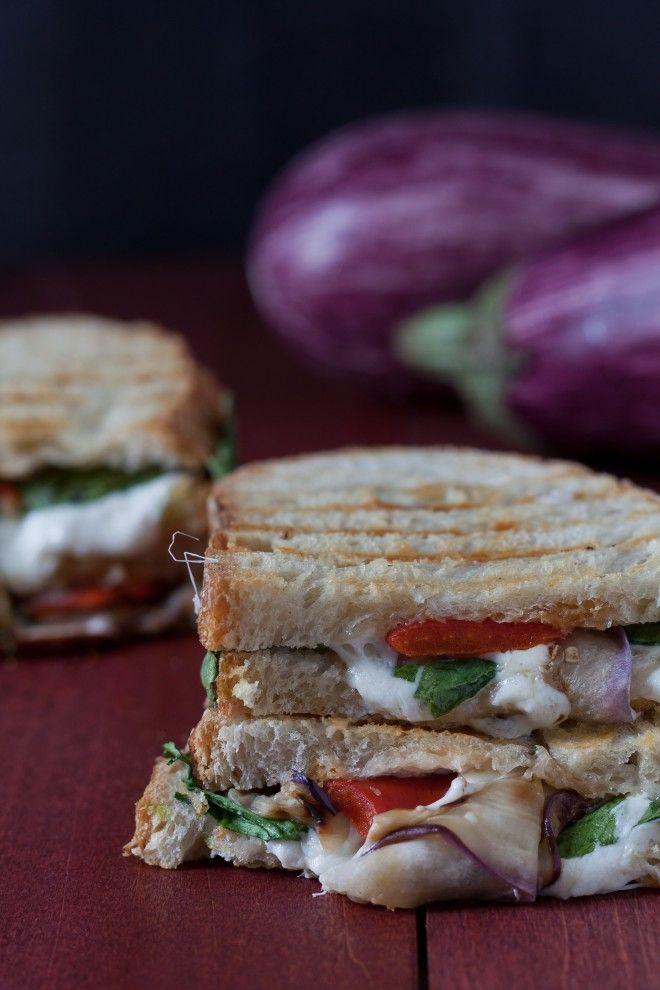 Mozzarella Eggplant Panini with Spinach and Roasted Red Peppers | Rec ...