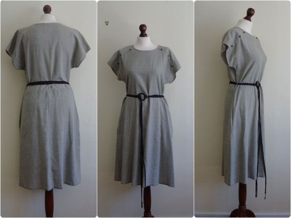 1980 Grey Green Shift Dress UK 14 by DaylightFrockery on Etsy, £12.00