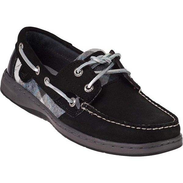 SPERRY TOP-SIDER Bluefish Boat Shoes Black/Grey Suede (89 CAD) ❤ liked on Polyvore featuring shoes, suede shoes, gray shoes, gray boat shoes, sperry topsiders and black boat shoes