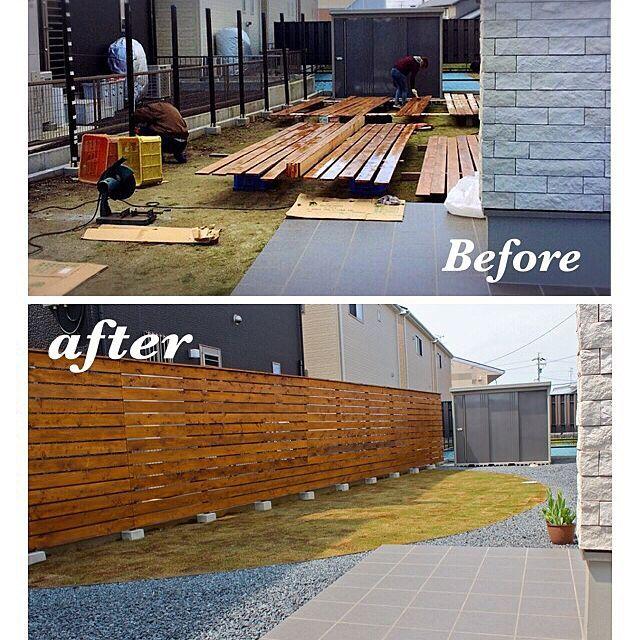 女性で、のシンプル/DIY/庭/ウッドフェンス/芝張り/マイホーム…などについてのインテリア実例を紹介。「住み始めて1年、ようやくお庭作り始めました( ´ ▽ ` )ノ穴掘り、セメントねったり、木を切ったり、色を塗り、ビスでとめてゆく…(^ー゜)作業としては一週間で完成!! かなりお気に入りのフェンスです♡芝も少しづつ緑に…♡」(この写真は 2016-04-07 12:01:43 に共有されました)