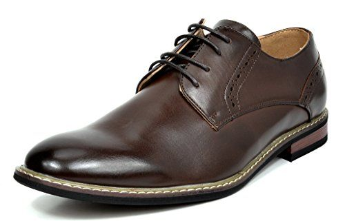 Bruno MARC PRINCE-16 Men's Oxford Modern Classic Brogue Lace Up Leather Lined Perforated Dress Oxfords Shoes Dark-Brown Size 14