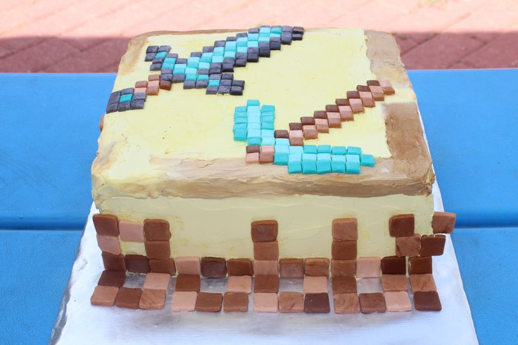 Minecraft Butter Block and Tools Birthday Cake w/ lots of