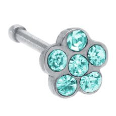 Aqua CZ Dewdrop Wildflower Nose Bone   This nose ring contains a hint of aqua sparkle encircled by sky blue crystals. This wildflower adorns its wearer with the beauty-of-the-fields. Perfect for everyday, everywhere.