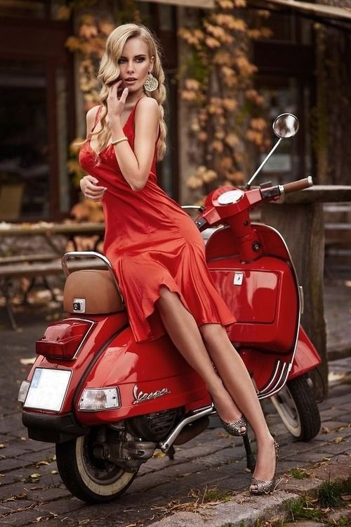 Red dress red vespa scooter