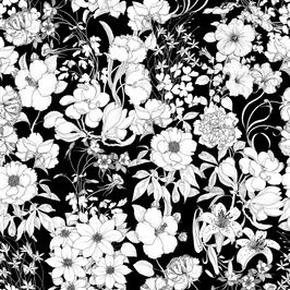 Black and White Vintage Flowers