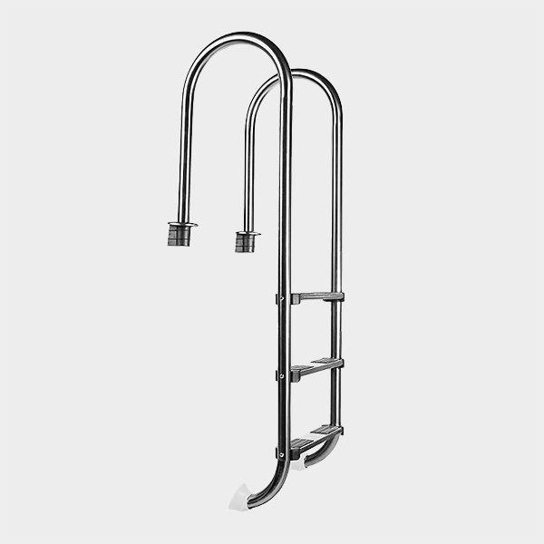 Pool-Leiter Edelstahl PLUS eng ausladend 3-stufig Aus V2A Edelstahl hergestellte, eng ausladende Einhänge-Poolleiter mit 3 Trittstufen, die jeweils über 2 schwarze, rutschhemmende Kunststoff-Auflagen verfügen. Leiterholme (Ø 43...