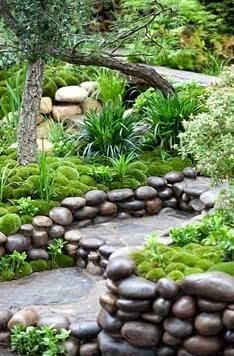 Moss mounds & decorative pebble