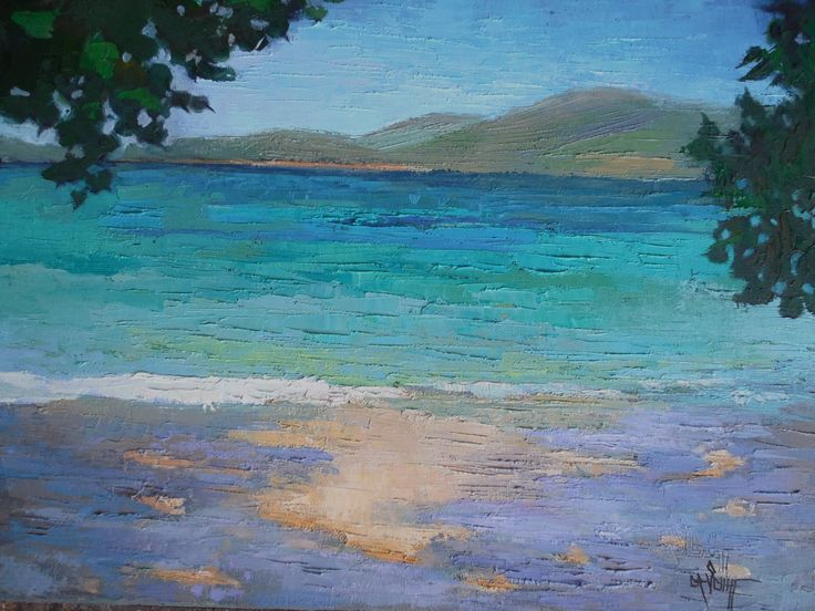 """Tropical Painting, Island Seascape, Daily Painting, Palette Knife art,  """"Caribbean"""" 16x20x1.5"""" Oil by CarolSchiffStudio on Etsy"""