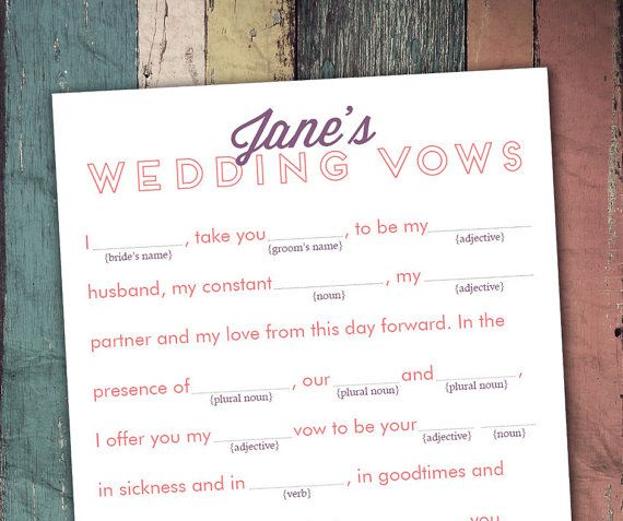 DIY Printable MadLibs For Wedding Shower Write The Brides Vows By Swooncreative
