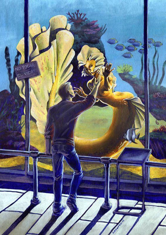 Mermaid in aquarium