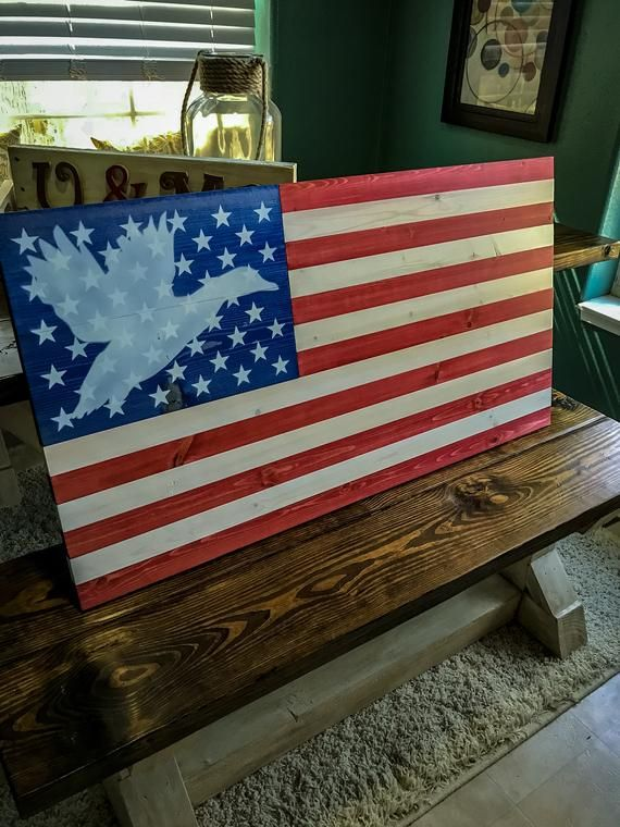 9d3b58d8ddf This wood American flag features a flying mallard duck silhouette behind  the stars in the union of the flag. Show your love for the USA and ducks  with this ...