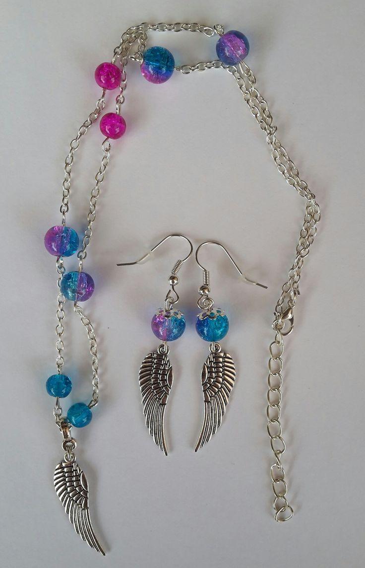 Parure collier et boucles d'oreille aile d'ange et perle bleue et rose : Parure par lulucreations34