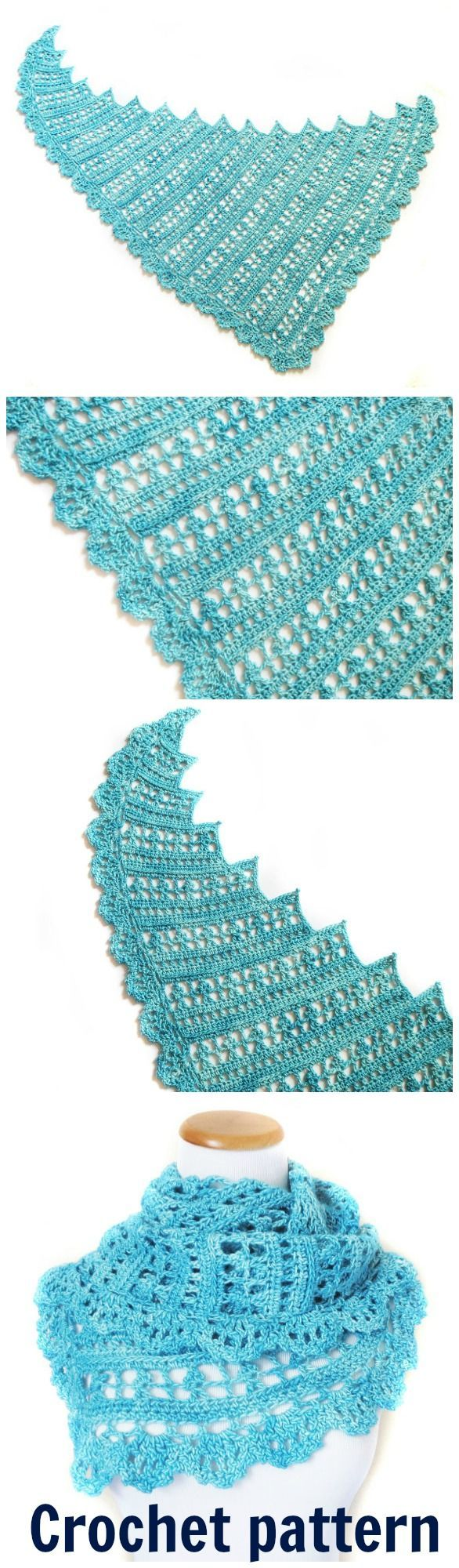 Aphrodite's Dance is a lacy, lightweight shawl featuring asymmetrical shaping and a delicate shell edging. Shawl crochet pattern.