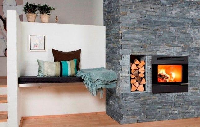 17 migliori idee su rivestimento in pietra su pinterest - Stufa a pellet a incasso ...