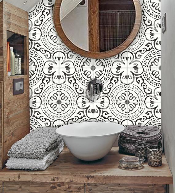 Tile Sticker Kitchen Bath Floor Wall Waterproof Removable Peel N Stick A72 A72 Bath Floor Kit In 2020 Tile Stickers Kitchen Wall Waterproofing Bathroom Trends