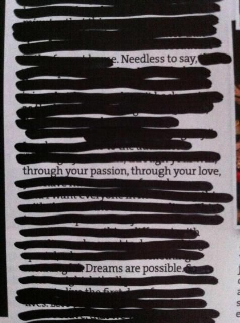 Poetry from blacking out newspaper stories. Love this! #poetry #quotes
