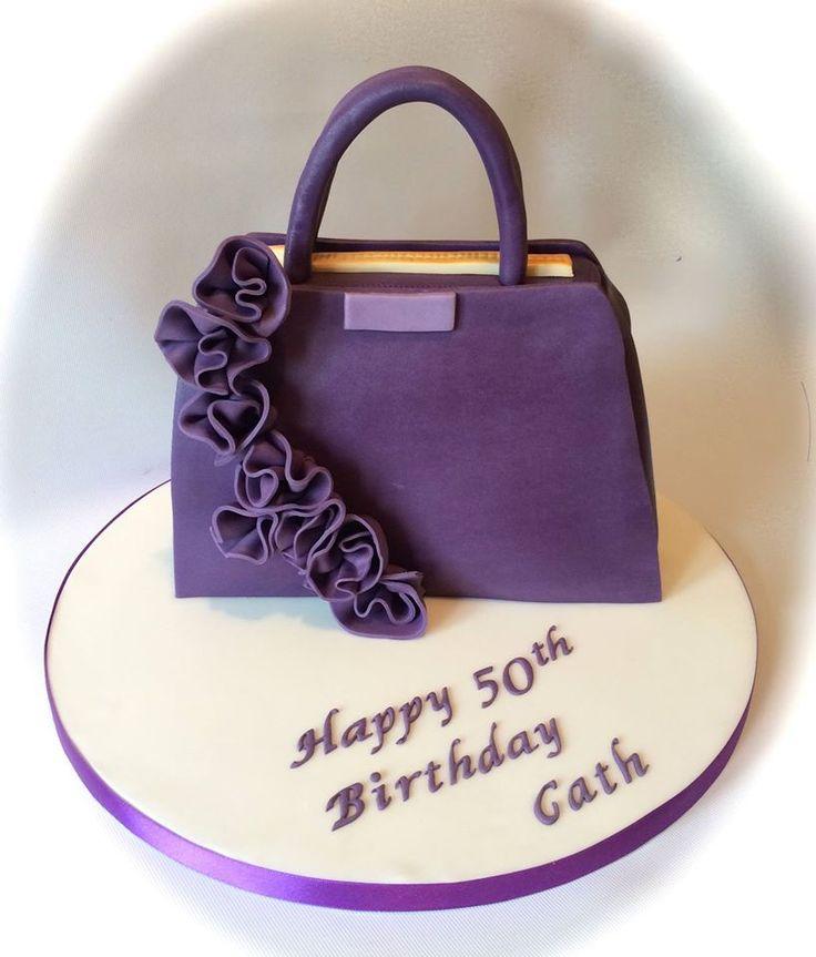 Purple roses handbag cake by www.facebook.com/cakeinspirations
