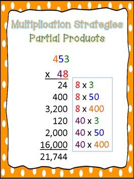 Here's a set of 3 posters that give examples of multi-digit multiplication strategies, including the traditional algorithm, partial products, and lattice.