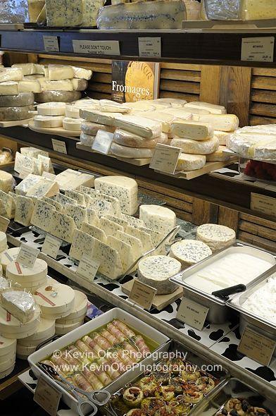French cheeses at Paris market.