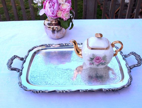 Vintage Silver Serving Tray Large Heavy Footed Silver Butlers Tray with Handles Wm A Rogers by HouseofLucien