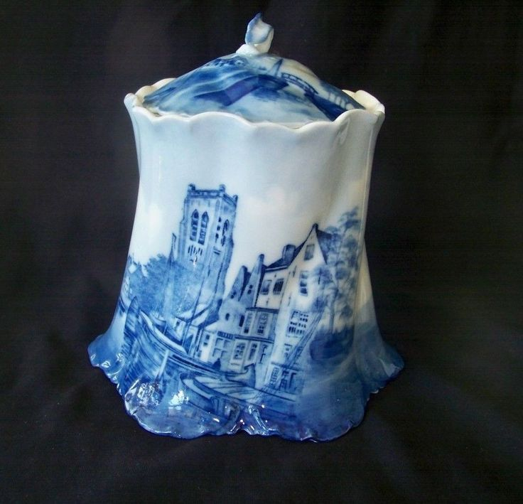 Vintage Philip Rosenthal Co German Delft Blue & White Porcelain Biscuit Jar in Pottery & Glass, Pottery & China, Art Pottery | eBay