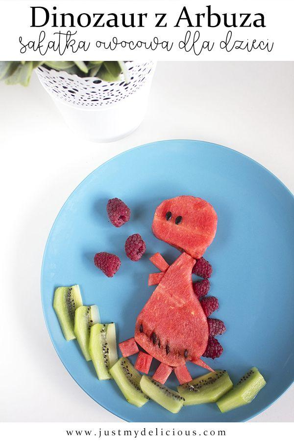 Dinozaur Z Arbuza Salatka Owocowa Dla Dzieci Salads For Kids Food Art For Kids Dinosaur Food