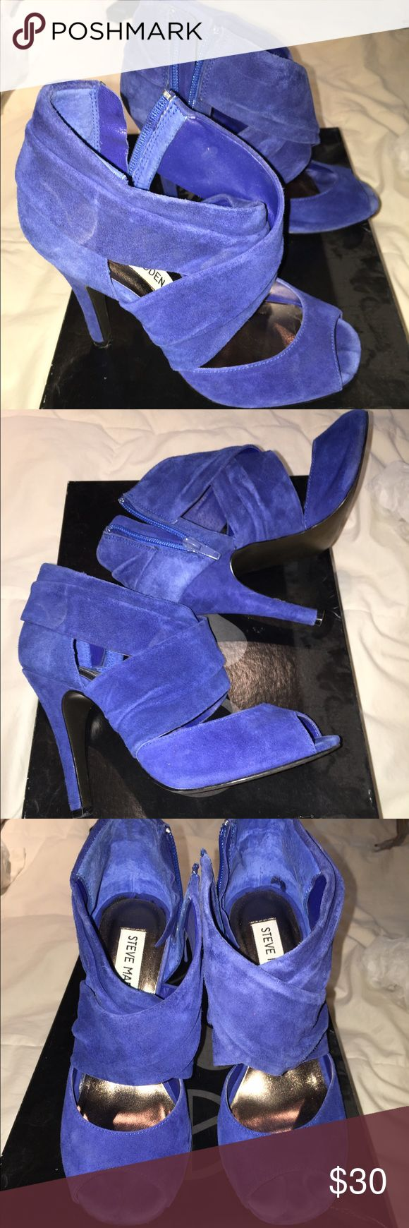 Steve Madden Suede heels- Taboo- Sz 5.5 Worn once- Steve Madden Blue Suede heels- Sz 5.5 with original box and receipt Steve Madden Shoes Heels
