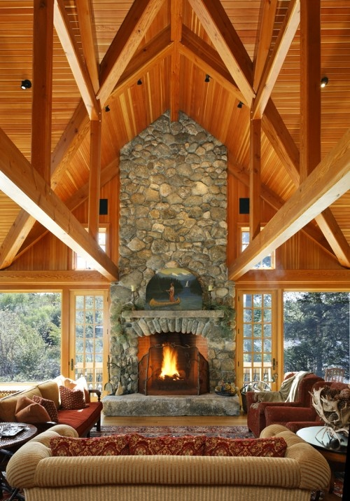 holy cow: Decor, Ideas, Stones Fireplaces, Living Rooms, Lakes Houses, Wood Ceilings, Logs Cabins, Vaulted Ceilings, Traditional Families Rooms