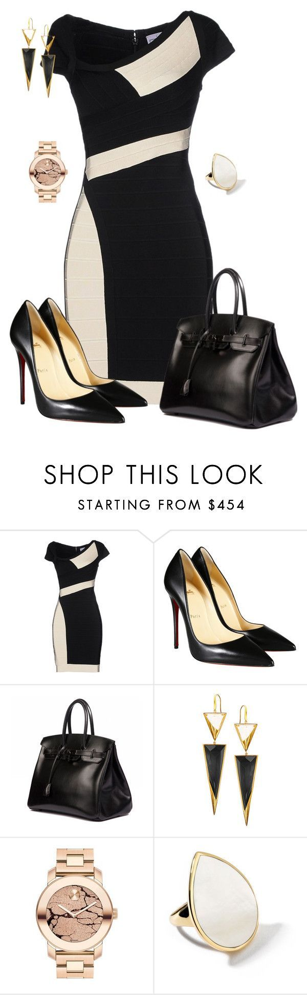 """Untitled #606"" by angela-vitello on Polyvore featuring Hervé Léger, Christian Louboutin, Hermès, Lana, Movado and Ippolita"