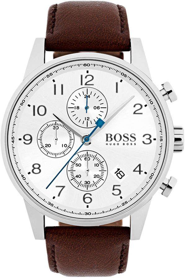 Boss Hugo Boss Men S Chronograph Navigator Dark Brown Leather Strap Watch 44mm 1513495 Reviews All Fine Jewelry Jewelry Watches Macy S In 2021 Brown Leather Strap Watch