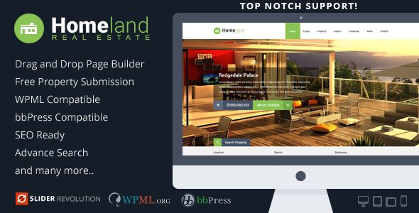 ThemeForest – Homeland v2.9.6  Responsive Real Estate Nulled WordPress Theme