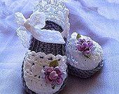 Baby Girl Booties, Easter Lavender Booties, Baby Crochet Sandals
